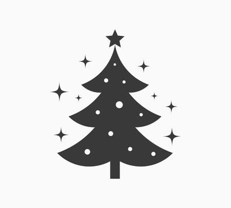 Christmas tree with stars icon. Vector illustration.