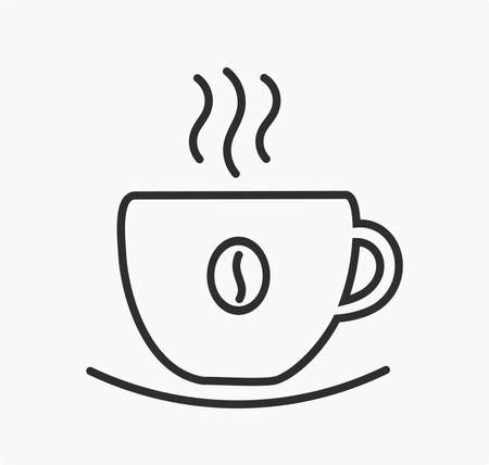 Coffee cup line symbol. Vector illustration.