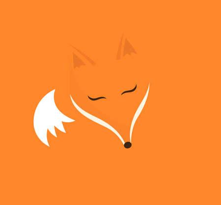Cute sleeping fox on orange background. Flat design vector illustration.