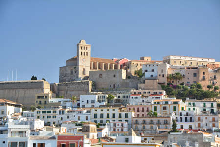 Old town with castle of Eivissa city, Ibiza island. Waterfront view.