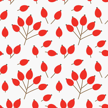 Rose hip red fruits autumn seamless pattern. Vector illustration.