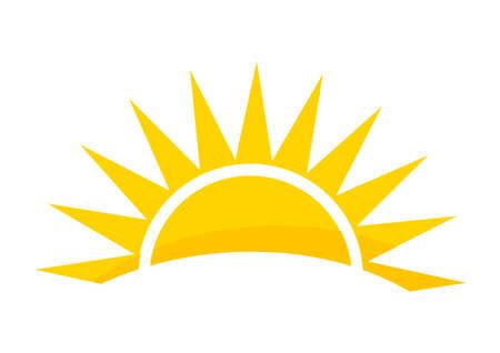 Sunset sun icon. Vector illustration.