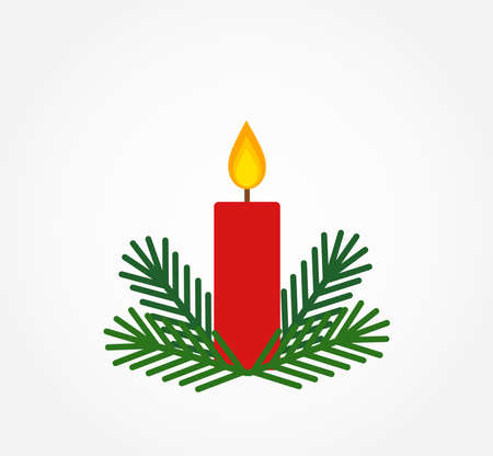 Christmas red candle and fir branches. Vector illustration.