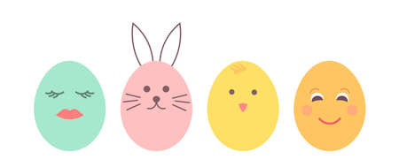 Easter eggs with painted faces. Cute Easter chick and bunny. Vector illustration