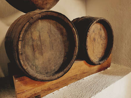 Two very old wooden barrels
