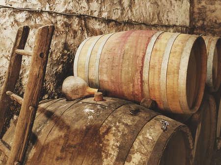 Wooden barrels for beer or wine.