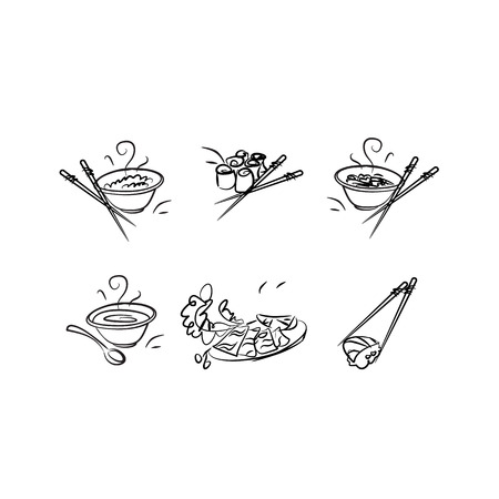 chinese tea pot: Outlined icons with Japanese cuisine and food.