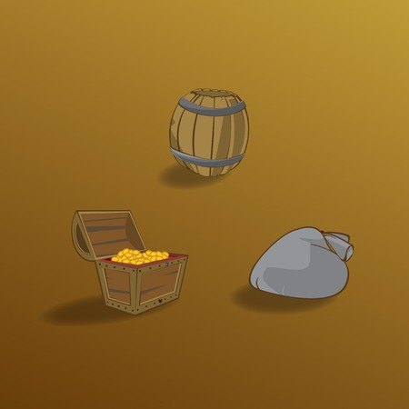 pulverizer: Collection of different containers. Chest with gold, bag and barrel.