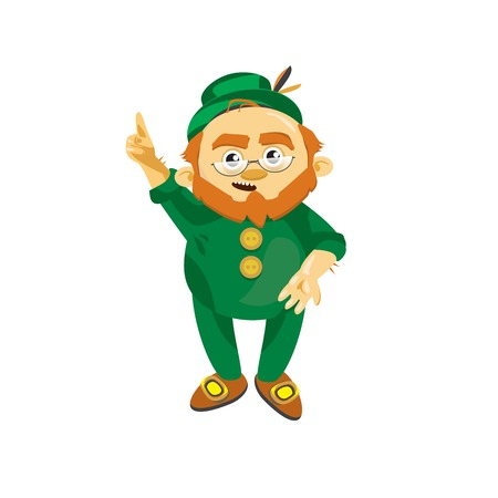 amoniaco: Leprechaun con un traje verde dice idea inteligente Vectores