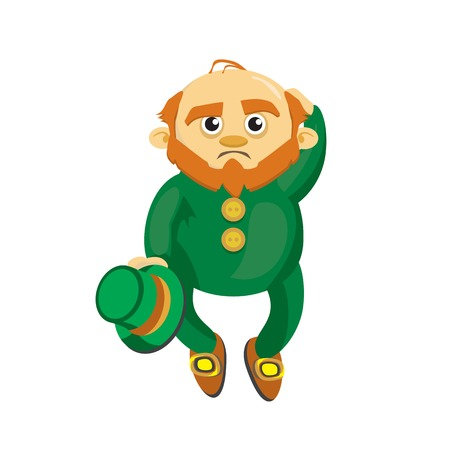 Leprechaun in the green suit thinking and scratching his head Vector