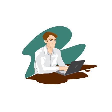 Young man sitting with a laptop and studies