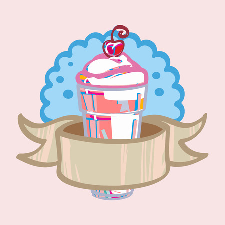 Fresh milkshake with ribbon and cherry cafes Vector