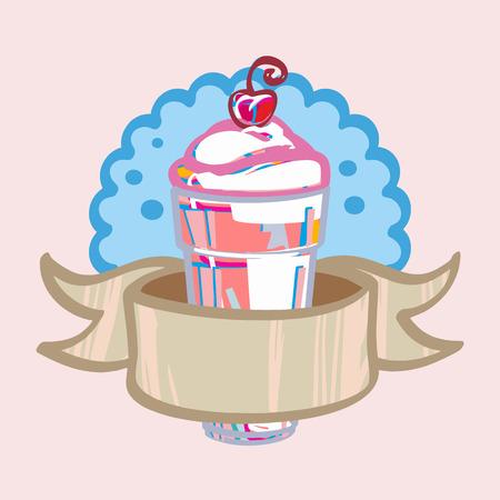 milkshake: Fresh milkshake with ribbon and cherry cafes