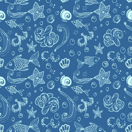 Pattern - fish and marine inhabitants in water. Vector