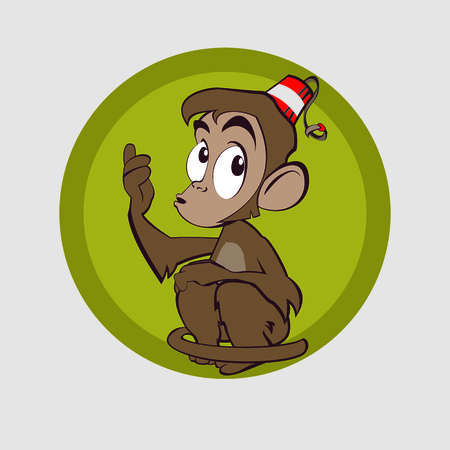 Very clever monkey came up with the idea and she smiled Vector