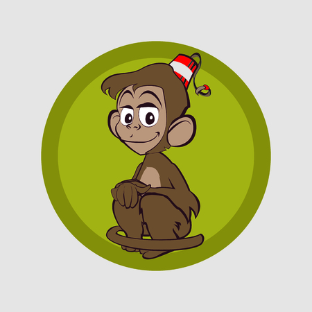 Monkey sits and waits for a friend for life Vector