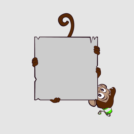 Monkey clings to scroll legs and trying not to fall Vector