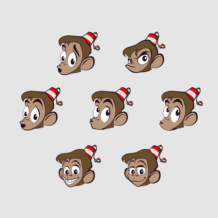 Different emotions on the face of a monkey Vector
