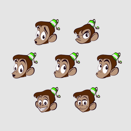 humility: Different emotions on the face of a monkey