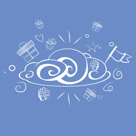 Cheerful cloud with presents and the flag in the sky Vector