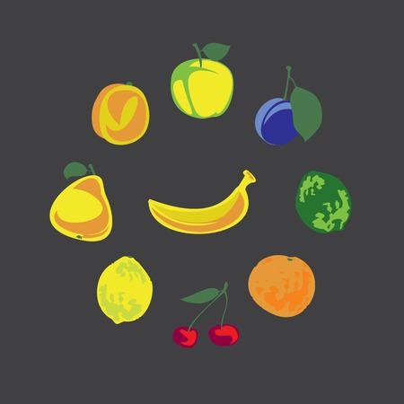 vegetarians: Collection of fresh fruits for vegetarians on summer