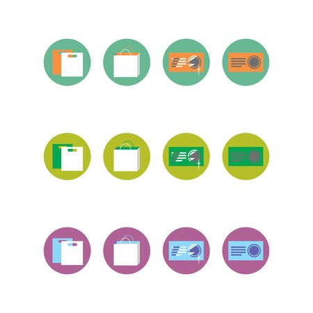 printers: Collection of four different colored icons for printers Illustration