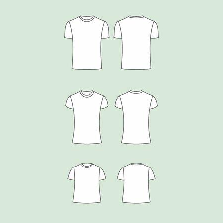 hommes et femmes: Ensemble de t-shirt de vecteur pour hommes, femmes et enfants Illustration