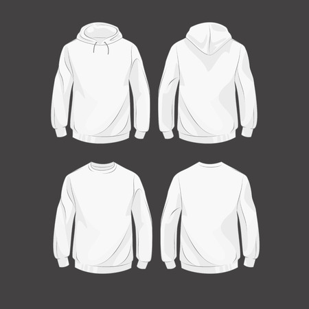 Set od hoodies, front and back, with hood and without