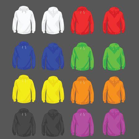hoody: Collection of color hoody for men front and back