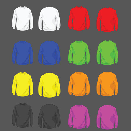 Collection of color sweatshirt for men front and back