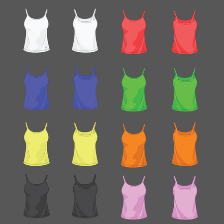 undershirt: Collection of color undershirt for women front and back