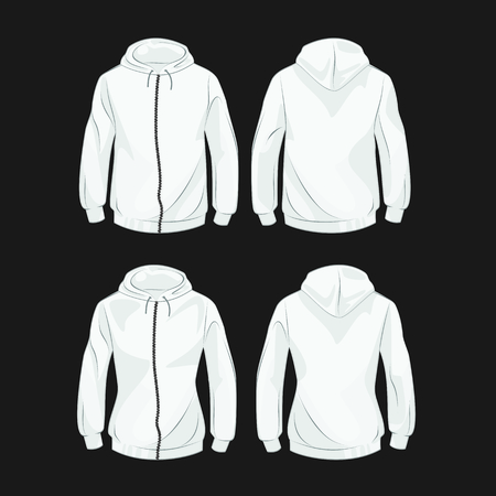 rear view girl: Set of hoodies for men and women front and back
