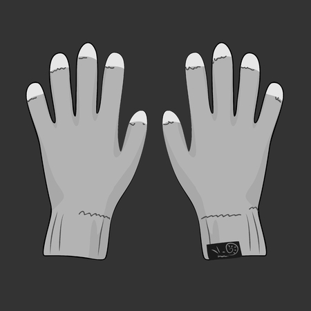 biological: Grey gloves with white tip for touch screen Illustration
