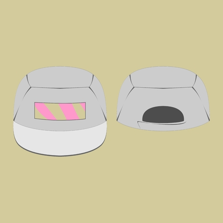 merchandising: Grey cap with pink print and white peak Illustration
