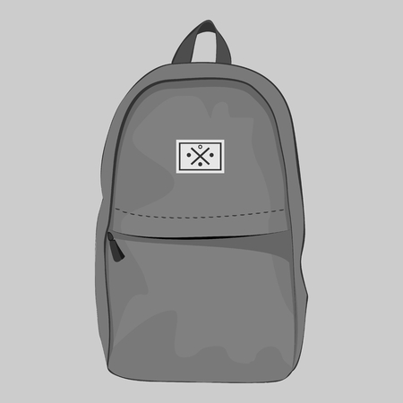 closure: Grey backpack with a pocket with zipper closure