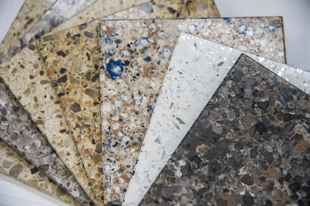 Kitchen and bath counter stone sample colors Archivio Fotografico