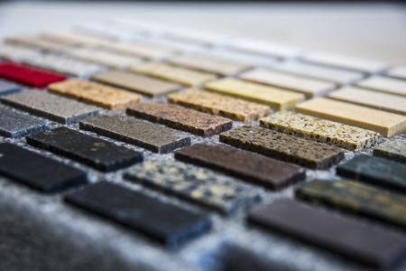 Comptoir de cuisine échantillon de couleur pierre Banque d'images