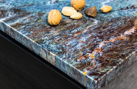 Picture of colorful kitchen interior granite worktop