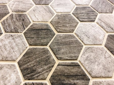 Hexagon mosaik brown and grey stone tiles, can be used as floor and wall tiles or can be used as kitchen countertop backsplash