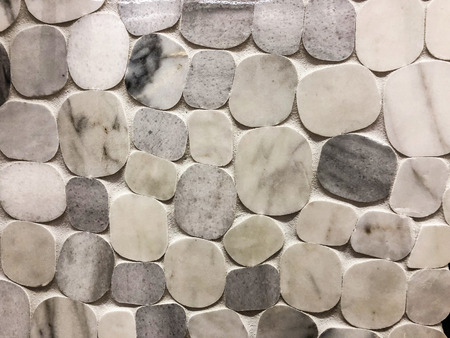 Mixed grey round stone mosaik tile with diferent stome size,can be used as wall and floor tile and the kitchen backsplash tile