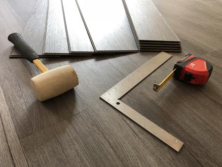 Beautiful hardwood floor installed in diagonal pattern made of oak wood