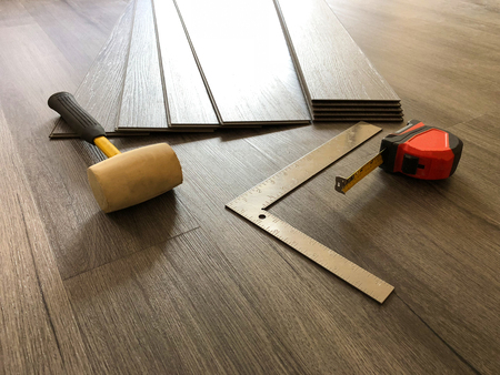 Beautiful hardwood floor installed in diagonal pattern made of maple wood