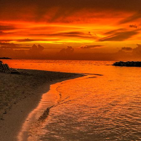 Beautiful seascape evening sunset sea and sky horizon