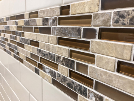 modern decorative glass and stone wall backsplash for the kitchen or bathroom