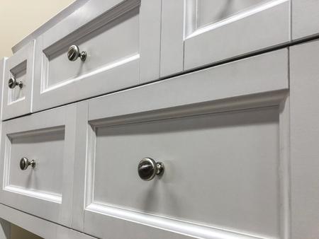 white modern white kitchen or bathroom cabinets newly installed Stockfoto
