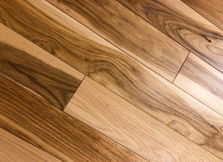 Modern looking red and white oak newly installed on diagonal staggered pattern. Remodeling concept