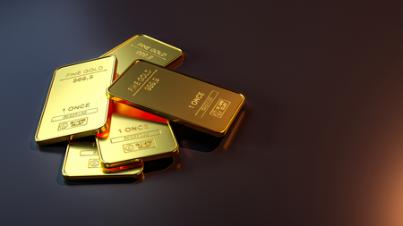 Gold bar close up shot. wealth business success concept 免版税图像