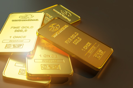 Gold bar close up shot. wealth business success concept 写真素材