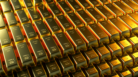 Gold bar close up shot. wealth business success concept