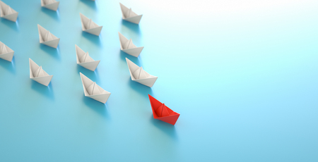 paper boat leadership concept - red paper boat leading the row Stok Fotoğraf